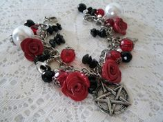 Goddess And Roses Pentacle Charm Bracelet wiccan by Sheekydoodle, $22.00