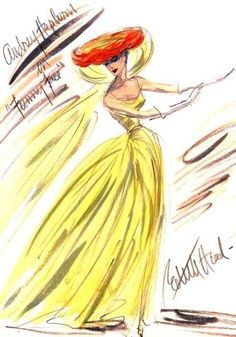 Illustration - Edith Head sketch for Audrey Hepburn in Funny Face, 1957 Mode Hollywood, Hollywood Fashion, Hollywood Gowns, Hollywood Style, Costume Design Sketch, Dress Design Sketches, Dress Designs, Fashion Illustration Vintage, Illustration Mode