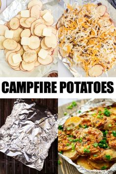 These Campfire Potatoes are the best camping food recipe! The perfect side dish. These Campfire Potatoes are the best camping food recipe! The perfect side dish when you Campfire Potatoes, Campfire Grill, Oven Potatoes, Easy Campfire Meals, Foil Potatoes On Grill, Campfire Breakfast, Campfire Desserts, Camping Illustration, Best Camping Meals