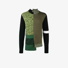 Green and black wool Structures knitted jumper from Liam Hodges.