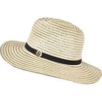 Cream metallic braid fedora hat