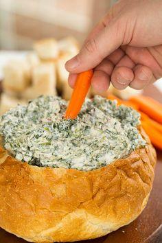Spinach Dip Recipe (from scratch!) | browneyedbaker.com #recipe #SuperBowl <> @kimludcom