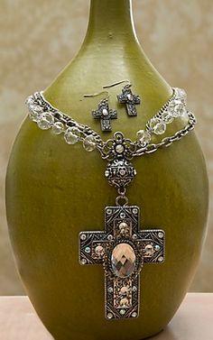 Blazin Roxx® Crystal Cross w/ Clear Beads & Silver Chains Jewelry Set 30122 | Cavender's