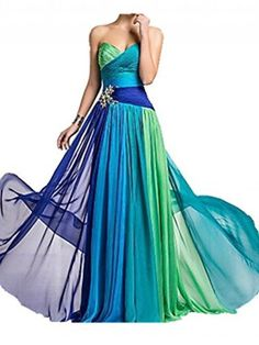 Sweetheart Lace Up A-line Chiffon Peacock Bridesmaid Dress $59
