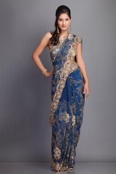 Golden Cut Work Blue Saree
