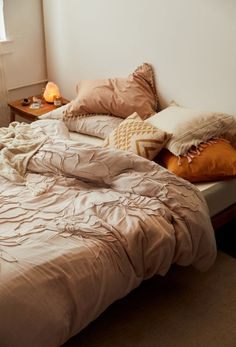 Shop Lumi Floral Roping Solid Duvet Cover at Urban Outfitters today. We carry all the latest styles, colors and brands for you to choose from right here. Tan Bedroom, Cozy Bedroom, Bedroom Inspo, Design Bedroom, Bedroom Ideas, Master Bedroom, Bedroom Wall, Burnt Orange Bedroom, Orange Bedroom Decor
