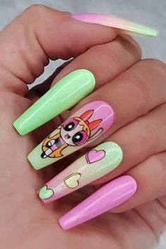 Disney Acrylic Nails, Simple Acrylic Nails, Best Acrylic Nails, Girls Nail Designs, Cartoon Nail Designs, Pikachu Nails, Watermelon Nails, Acylic Nails, Grunge Nails