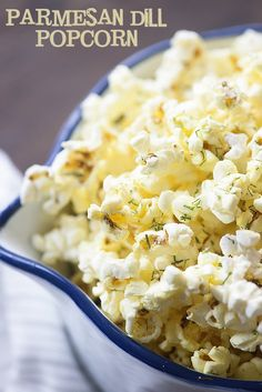 This Parmesan Dill Popcorn is such an easy snack, but people love the bold flavors! Flavored Popcorn, Gourmet Popcorn, Popcorn Recipes, Dog Recipes, Popcorn Bar, Easy Recipes, Keto Recipes, Appetizer Recipes, Chicken