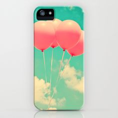Balloons in the sky (pink ballons in retro blue sky) iPhone Case by Andrea Caroline  - $35.00