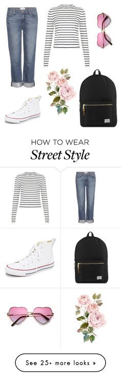 """""""street style - every day outfit"""" by blackperfection on Polyvore featuring Paige Denim, Converse, Herschel Supply Co., women's clothing, women, female, woman, misses and juniors"""