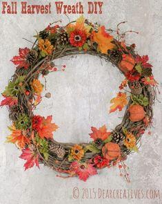 Fall Wreath Ideas - fall heart wreath diy, and other diy fall wreaths. Make a fall wreath in under an hour. Diy Fall Wreath, Wreath Crafts, Fall Diy, Fall Wreaths, Wreath Ideas, Fall Crafts, Diy Crafts, Wreath Tutorial, Diy Tutorial