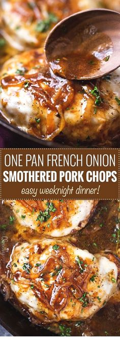 One Pan French Onion Smothered Pork Chops Juicy Pan-Seared Pork Chops, Smothered In Caramelized Onion Sauce And 2 Kinds Of Gooey Cheese. It's Easy To Break Out Of A Dinner Rut With This Fun Weeknight Meal The Chunky Chef Smothered Pork Chops Recipe, Pork Chops And Rice, Recipes With Pork Loin Chops, Pork Chop Marinade Baked, Oven Baked Pork Chops, Meat Recipes, Cooking Recipes, Healthy Recipes, Dinner Recipes