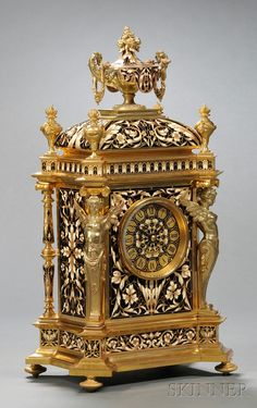 Gilt Brass and Champleve French Mantel Clock By Tiffany & Company