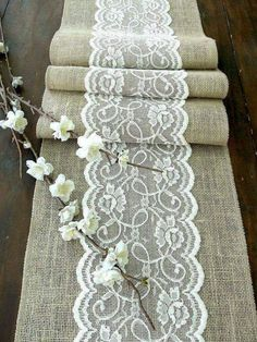 This is what I was thinking except for the navy burlap and orange lace.Table runner with ivory lace, rustic chic , romantic or vintage wedding , handmade, Harvey Trendy Wedding, Our Wedding, Dream Wedding, Wedding Ideas, Chic Wedding, Wedding Photos, Wedding White, Garden Wedding, Wedding Table