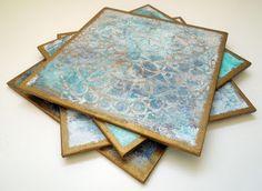 Gelli printed wooden tiles