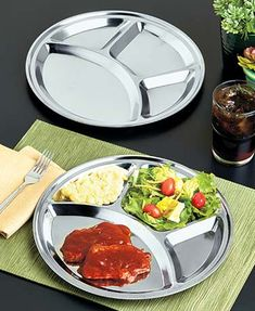 Sets of 2 Divided Stainless Steel Plates  Great replacement for paper plates  $399 for 100 plates