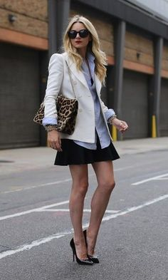 Site Moda It: blazer + saia, camisa jeans, look trabalho, work outfit
