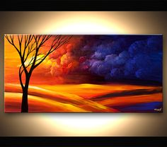"""Contemporary Tree Acrylic Painting Colorful Landscape Painting Blue, Purple, Reds by Osnat 48"""" x 24"""" - MADE-TO-ORDER by OsnatFineArt on Etsy https://www.etsy.com/listing/206225964/contemporary-tree-acrylic-painting"""