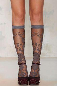 Grey Bouquet Floral Socks - Accessories | Socks + Legwear | Dark Romance | Dark Romance