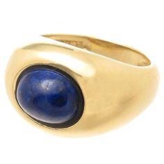 Tiffany lapis lazuli gold ring