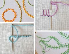Embroidery Tutorials hand embroidery ideas and tutorial. - The Hand Embroidery Network is quickly building a rich resource of stitch instructions through their Stitch A Day project. The pictures and instructions ar Embroidery Stitches Tutorial, Hand Embroidery Patterns, Embroidery Techniques, Embroidery Applique, Cross Stitch Embroidery, Embroidery Designs, Sewing Patterns, Embroidery Services, Simple Embroidery