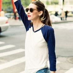 Tops - Navy blue raglan baseball tee white shirt classic
