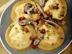 Ricotta-Taleggio Ravioli with Wild Mushroom Sauce Recipe : Anne Burrell