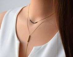 Gold Layered Necklace, Set Of 2 Gold filled Necklaces, Hematite Necklace, Gold Y Necklace, Double La Hematite Necklace, Beaded Necklace, Beaded Bracelets, Necklaces, Delicate Gold Necklace, Silver Choker, Layered Necklace Set, Short Necklace, Silver Bracelets For Women