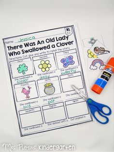 There Was An Old Lady Who Swallowed a Clover is the perfect story for kindergartners to practice retelling around St. Patrick's Day! I love including both sequencing and writing the words.