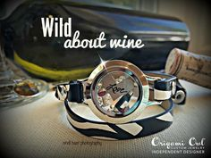 Love the zebra print leather band! Origami Owl new spring collection with a hint of wine