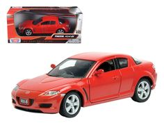 Mazda RX-8 Red 1/24 Diecast Car Model by Motormax - Brand new 1:24 scale diecast model car of Mazda RX-8 Red die cast car model by Motormax. Brand new box. Rubber tires. Detailed interior, exterior. Has opening hood and doors. Made of diecast with some plastic parts. Dimensions approximately L-8, W-3.5, H-3.25 inches. Please note that manufacturer may change packing box at anytime. Product will stay exactly the same.-Weight: 2. Height: 6. Width: 11. Box Weight: 2. Box Width: 11. Box Height…