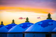 My husband and I spent a year living on the southern edge of the Gobi desert in Inner Mongolia in China. Mongolian Yurt, Gold Ink, Wooden Doors, Colored Pencils, Taj Mahal, Around, Blue And White, Yurts, Clouds