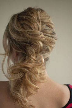 Bridesmaid's hair back - Twisted braid or french twist with pony tail curls sticking out the bottom.