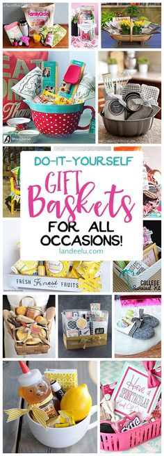 Put together a gift basket for any occasion and make someone's day! Easy do it yourself ideas! Gift Basket Ideas, Making A Gift Basket, Food Gift Baskets, Creative Gift Baskets, Diy Makeup Gift Basket, Women Gift Baskets, Gift Basket For Teacher, Gift Baskets For Christmas, Gift Basket For Men