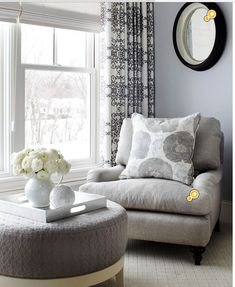 Love the ottoman! A tone-on-tone gray color scheme looks anything but dull in this bedroom seating area, thanks to a variety of textures. The chair features a rough linen upholstery, while the ottoman is covered with a nubby elevated pattern. Living Room Decor, Bedroom Decor, Bedroom Furniture, Bedroom Nook, Furniture Ideas, Dining Room, Bedroom Ideas, Bedroom Corner, Master Bedroom Chairs