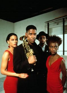 Cynda Williams, Denzel Washington, Spike Lee and Joie Lee Mo' Better Blues Black Actors, Black Celebrities, Celebs, Spike Lee Movies, Mo' Better Blues, African American Movies, American Art, Old School Movies, Pelo Afro