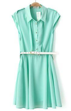 Green Cap Sleeve Epaulet Belt Buttons Dress US$31.80
