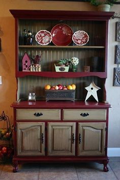 Dark foundation/light drawers and doors kitchen hutch makeover