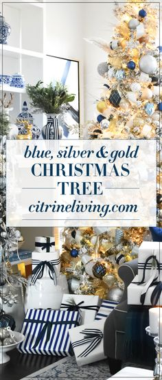 Beautiful, flocked Christmas tree adorned with navy, light blue and elegant metallics, is sophisticated and refreshing for your holiday decor. #christmas #christmastree #christmasdecor #blueandwhite