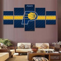 2017 Indiana Pacers Banner - 5 Piece Canvas Painting 95661053cd3