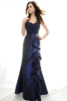 Beautiful taffeta gown - perfect as a bridesmaid dress or a gown for an elegant evening. Strapless (sleeves can be added upon request). Cross over bodice with pretty broach detail to one side. Fit and flare skirt with amazing side ruffle detail. Available in wide range of colours. http://www.thebridalwearcompany.co.uk/store/edendressdetails-wedding-Araminta_7351-item-2648.htm#