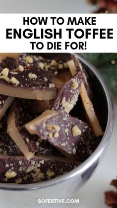 Step-by-step directions to make the best English Toffee for Christmas, neighbor gifts, teacher gifts or holiday party treats. This easy recipe will become a family favorite! Candy Recipes, Holiday Recipes, Cookie Recipes, Dessert Recipes, Christmas Baking, Christmas Neighbor, Neighbor Gifts, Christmas Candy, Christmas Cookies