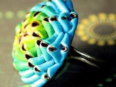 """Кольцо """"Необычный цветок"""" из полимерной глины (фимо) с переходом цвета - Ярмарка Мастеров - ручная работа, handmade"""
