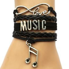 Infinity Love Music Bracelet- Black Musicial Notes Charm Bracelet Bangle Fine or Fashion: Fashion Item Type: Bracelets Style: Casual/Sporty Gender: Unisex Setting Type: Prong Setting Material: Zinc Alloy Chain Type: Link Chain Length: 1 Music Jewelry, Cute Jewelry, Fashion Bracelets, Bangle Bracelets, Black Bracelets, Necklaces, Fashion Mode, Womens Fashion, Infinity Love