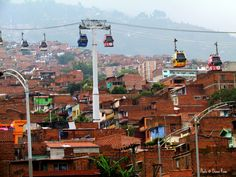 Cable metro over Medellin, Colombia