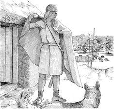 Mand ved husdør iført Muldbjergdragt – Mann vor Haustür, Tracht aus Muldbjerg – Man outside House, in Muldbjerg dress