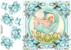 Baby Boy In A Pram 8x8 on Craftsuprint designed by Amy Perry - Baby Boy In A Pram 8x8 in lovely pale blue frame also has corner roses and decoupage - Now available for download!
