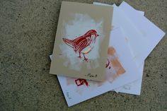 Winter bird collection. Linoprint cards by mea bateman