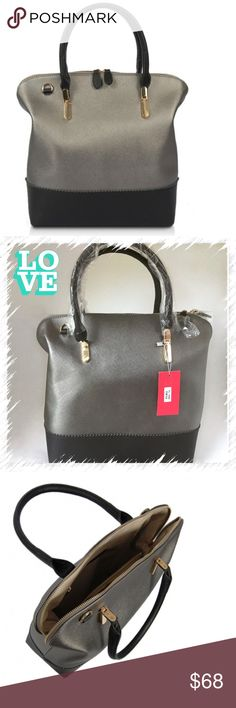 """Two Toned Metallic Satchel/Vegan 🚫No offers accepted🚫Shown in pewter.                                  EXTERIOR DIMENSION: 13""""L x 5.5""""W x 14""""H Drop length: 6"""" handheld  MATERIAL: Smooth leatherette with matching trim Solid faille lining Gold plated hardware  DETAILS: Elbow hold with zip closure Shoulder strap included Interior zip pocket and double slide pockets Boutique Bags Satchels"""