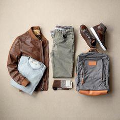 Jacket: PLRB Clothing // Sweater: Nifty Genius // Pants: Nifty Genius // Bag: Breton Company // Sneakers: Crevo // Socks: Dead Soxy